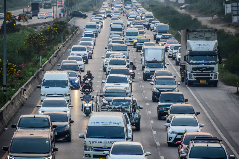 18 February 2018 Samut Sakhon Thailand,Cars driving on road on evening at RAMA2 RD,Time lapse many car on road Architecture Building Exterior Car City Day High Angle View Land Vehicle Mode Of Transport No People Outdoors Road Rush Hour Street Traffic Transportation