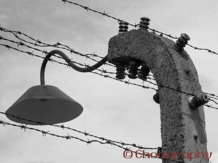 This image was captured at first light at the Auschwotz Concentration Camp, Poland. There are no words to describe the atrocities of Hitlers Third Reich and the inhumanity of man towards man. The 'sentinel lamp' continues its gaze down upon the death camp. Auschwitz  Konzentrationslager Auschwitz Aushwitz-Birkenau Blackandwhite Monochrome Historical Building Travel Photography Concentrationcamp Mermorial To The Murdered Jews Of Europe