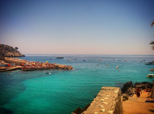 Sea Beach Horizon Over Water Water Blue Sunny Vacations Sky Clear Sky Outdoors Travel Destinations Tranquility Nature No People Day Beauty In Nature Architecture Sailing Ship Estate Estate2017 Summer Summer2017 Castro Castromarina Salento