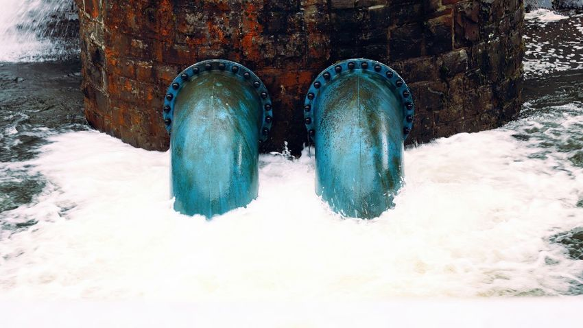 Oberberg Water Treatment Beauty In Nature Blue Bruchertalsperre Cold Temperature Dam Day Motion Nature No People Outdoors Pipe Pipe - Tube Pipes Swirl Water Water Swirl Winter