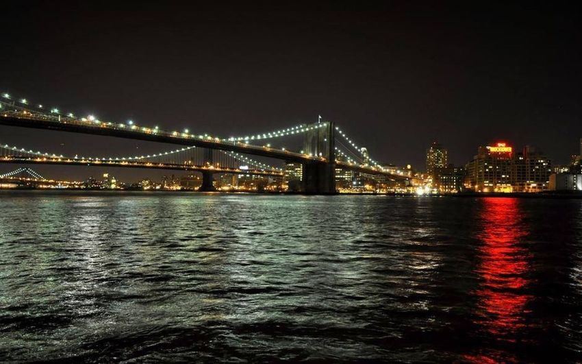Brooklyn bridge Tourist Destination New York At Night Brooklyn Bridge / New York New York Bridge Bridge - Man Made Structure Built Structure Water Architecture Connection Night Illuminated Travel Destinations Waterfront Reflection City River EyeEmNewHere