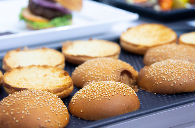Baked Bread Bun Burger Close-up Fast Food Focus On Foreground Food Food And Drink Freshness Hamburger Indoors  Indulgence Large Group Of Objects No People Ready-to-eat Sandwich Selective Focus Sesame Snack Tray Unhealthy Eating