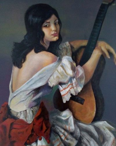 My grandma has a photograph. This is my painted version. Beauty One Woman Only Portrait Musician Close-up Acrylic Painting Guitare MadebyMe ☝✌ Cultures Freeback Blackhair Flamenco SPAIN Spanisch Andalucía Women Painted Womens