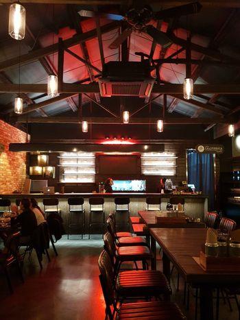 Bar Illuminated City Bar - Drink Establishment Restaurant Chair Table Architecture Pub Gas Light Pendant Light