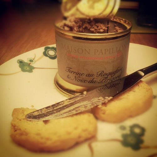 Just opened a souvenir from my visit of the caves at Roquefort sur Soulzon, where Roquefort Cheese is produced.. Delicious Paté with roquefort and walnuts.... Food