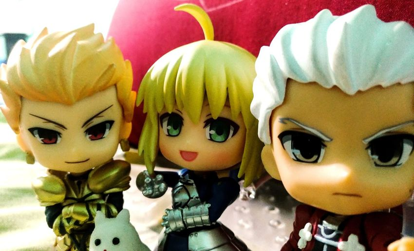 Groupie with Gilgamesh, Saber and Archer plus this cutie Pusshie the Squishie Cat. FateStayNight Toys Toyphotography