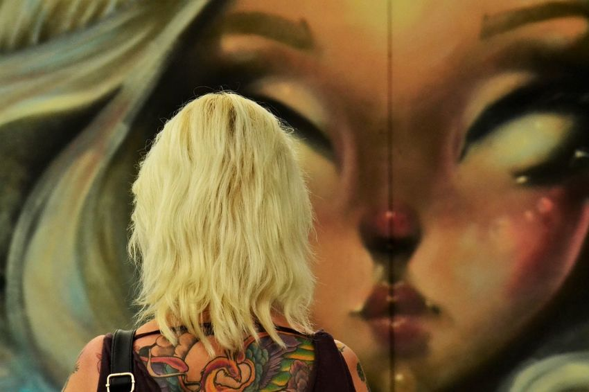 Art Artistic Expression Blond Hair Close-up Culture Culture And Tradition Day Graffiti Art Headshot Leisure Activity Lifestyles One Person Outdoors People Real People Rear View Streetphotography Upfest Upfest2017 Urban Landscape Women