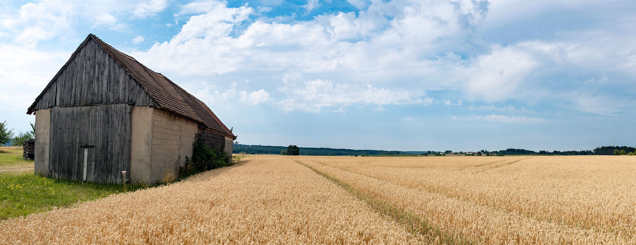 A dry and hot summer in a rural part of Bavaria, Germany. Barn EyeEmNewHere Panorama Panoramic View Remote Location Rural Scenes Agricultural Building Agriculture Cereal Plant Landscape No People Outdoors Panoramic Landscape Rural Scene Scenics - Nature Tranquil Scene
