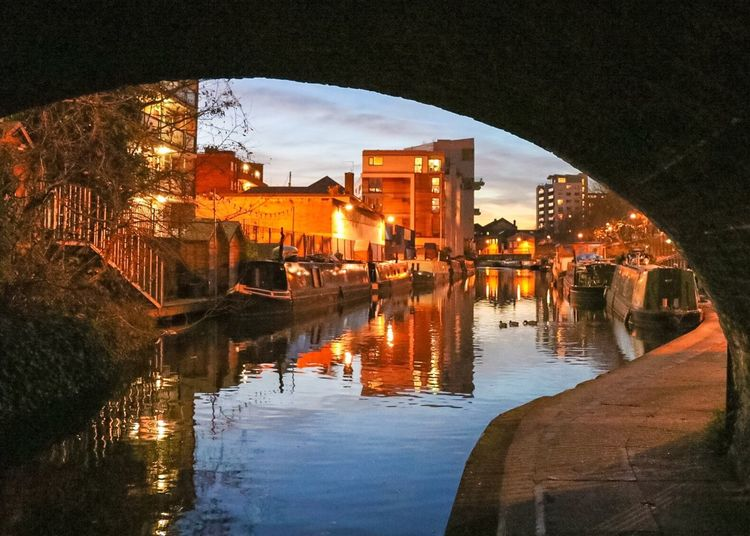 London Regents Canal Reflection City Sunset Outdoors Night Autumn Canon 80D
