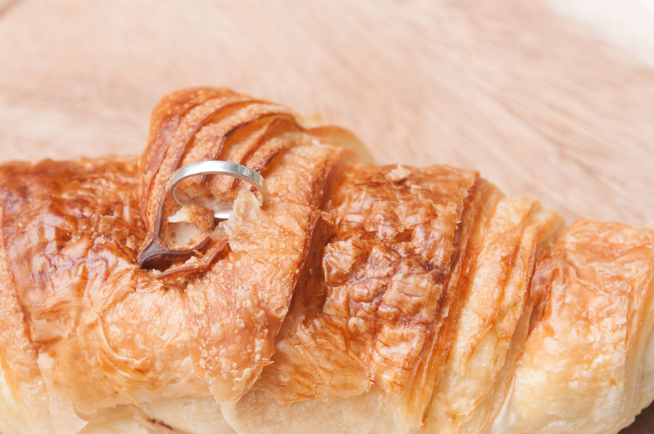food, food and drink, still life, close-up, freshness, indoors, croissant, baked, brown, no people, focus on foreground, ready-to-eat, french food, serving size, plate, high angle view, table, unhealthy eating, indulgence, bread, temptation, snack