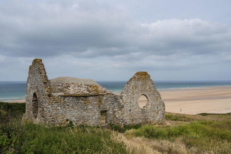 Cap De Carteret Carteret France Normandie Beach Day Grass History Old Ruin Outdoors Ruin Ruin Of A Chapel Scenics Sea Sea And Sky Seaside Shore Sky Vacation