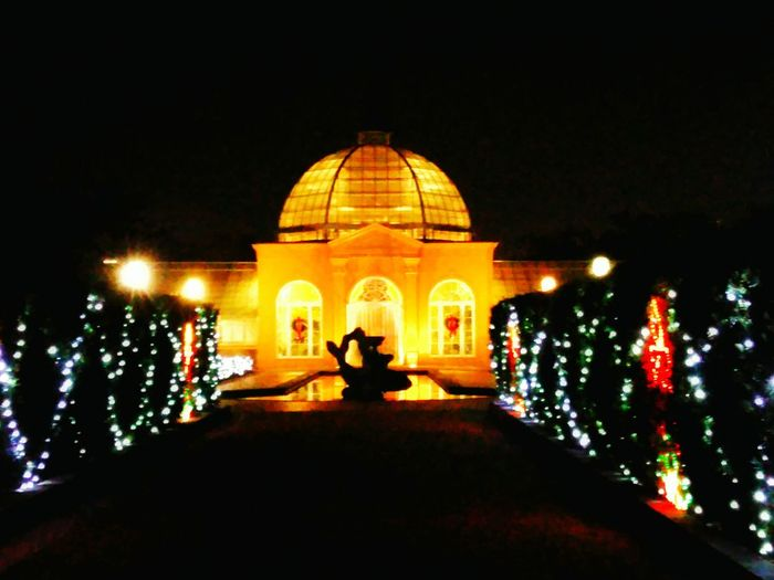 Conservatory Of The Two Sisters at New Orleans City Park during Celebration In The Oaks. Christmas Lights Elegant Travel Photography City Park Walkway