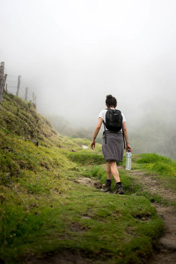 Hiking into the fog Adventure Beauty In Nature Fog Footpath Forest Full Length Hike In The Rain Hiking Hiking Adventures Hiking Into The Wild Landscape Nature People Tranquility Travel Destinations Walking
