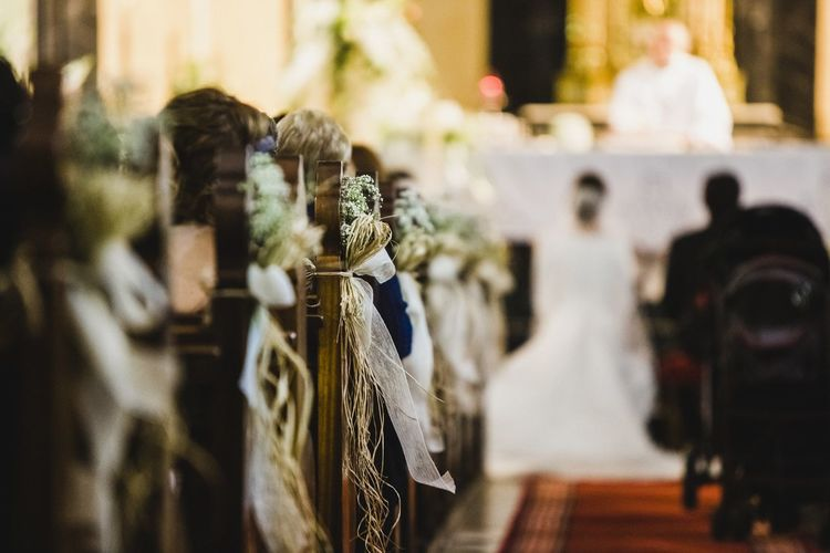 Couple in church during wedding ceremony