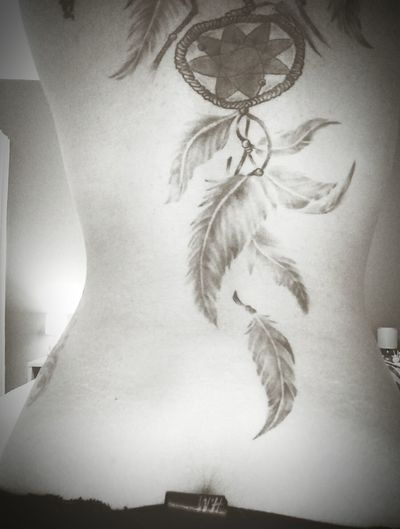 Dream Catcher Tattoo Gurl Feather Light Art Of Peaceful Mind Allow Only Good Things Meaning Of Black And White Photography Tattooist : Khun A Grade A Tattoo, Phuket Thailand