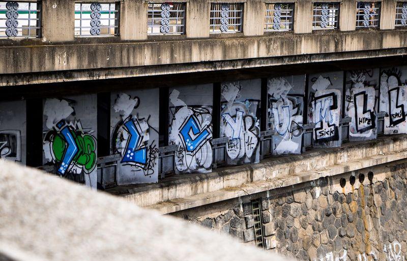 Bridge Graffiti Graffiti Architecture Built Structure Building Exterior Creativity Wall - Building Feature No People Art And Craft Pattern Street Art Day Wall Outdoors Building Human Representation Text Representation Craft Window