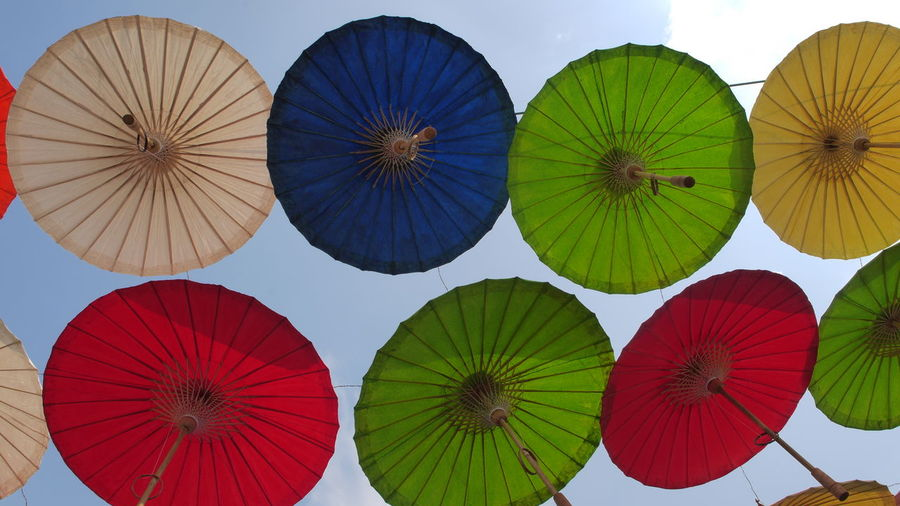Sunlight Choice Colorful Low Angle View Multi Colored Protection Sunshade Umbrella