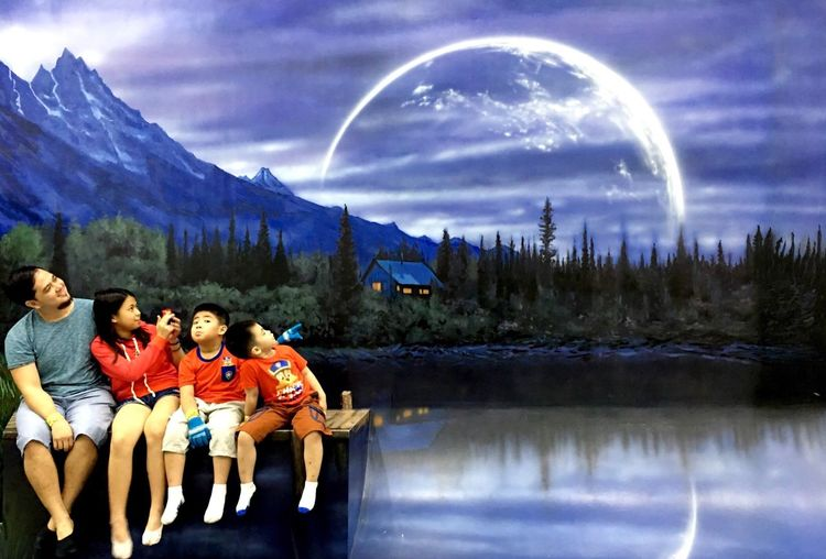 Art Painting Nature Sky Leisure Activity Water Reflection Beauty In Nature Mountain