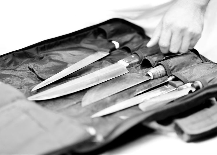 Chef with knife and cutting tasty grilled steak, Chef preparing food, meal, in the kitchen chef at work Knife Steel Set Kitchen Knives Background Chef Isolated Stainless White Cooking Metal Food Tool Handle Sharp Blade Wooden Board Brown Butcher Closeup Utensil Black Table Restaurant Preparation  Household Knifes Object Home Equipment Silver  Cut Professional Meat Cook  Metallic Cutting Useful Kit Concept Vintage