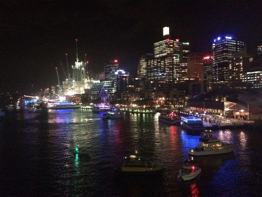 VIVID Sydney Aquatic Nights looking towards Barangaroo. Harbour Sydney Photography Australia