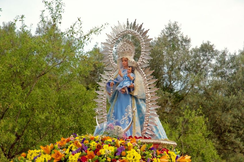 Fiesta in the Afternoon. Andalucia Spain Celebration Crown Day Female Likeness Fiesta Flower Grass Holiday. Jimera De Libar Nature Outdoors Plant Religion Roman Catholic Romerio Sculpture Sky Spirituality Statue Tree