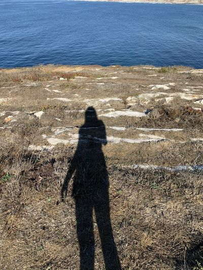 Shadow of man on shore