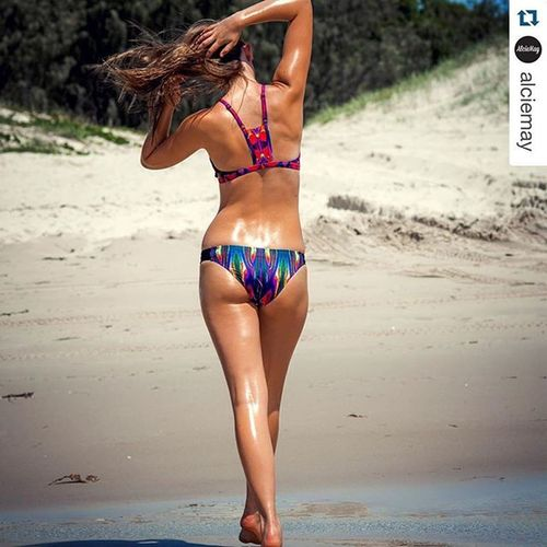 Repost from @alciemay 📷 @jkdimagery 💃🏼@anjachristoffersen 💄@muasarahj ・・・ -Because every day should feel like a day at the beach- 🌻👙☀️ Our JillianFaith top and KellyMelinda bottoms now available at www.alciemay.com Beach Bronzed Swimwear Summer Bikini