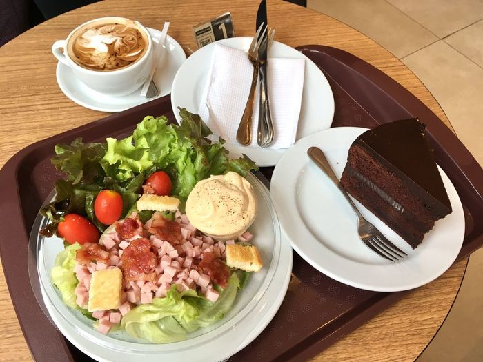 Salad Ham Coffee Chocolate Cakes Chocolate Fudge Cake Food And Drink Cafe Plate Set Of Food Breakfast