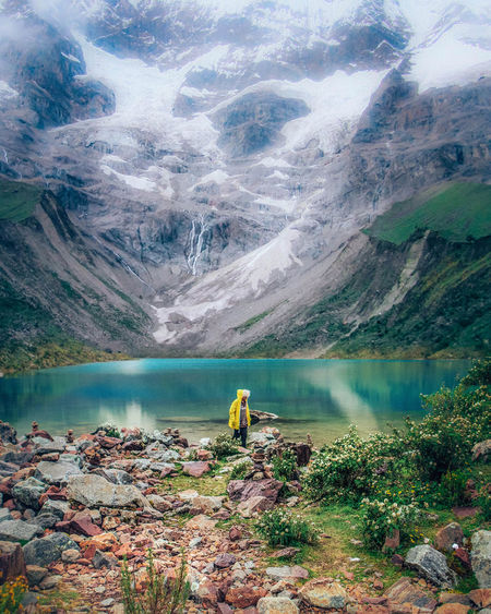 Water Lake Mountain Scenics - Nature Beauty In Nature Nature Day Tranquil Scene Environment People Adventure Standing Turquoise Colored Peru Green Color Greenery Glacier Nature Nature_collection Travel Destinations Travel Wanderlust Outdoors Outdoor Photography Hiking