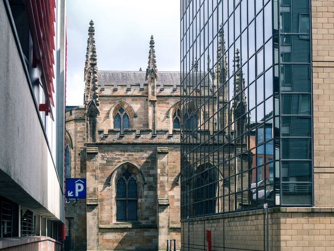 GLASGOW CITY Mirror Image Reflected  Scotland Arch Architecture Belief Building Building Exterior Built Structure City Day Glass - Material Hidden Places No People Outdoors Place Of Worship Religion Streetphotography The Past Travel Destinations Undiscovered Window