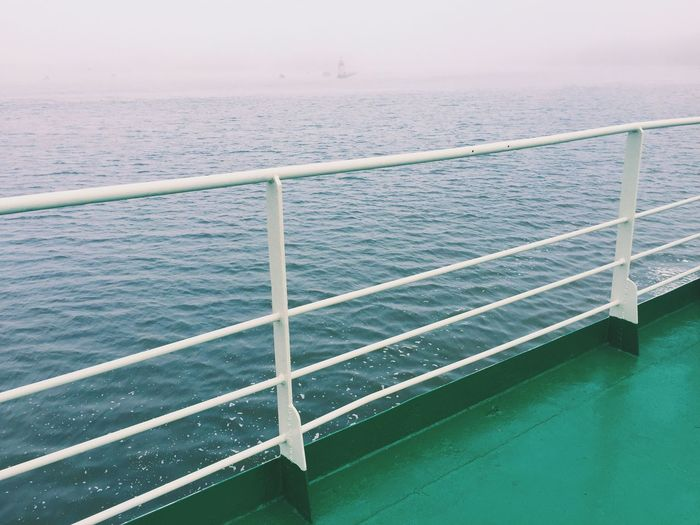 Overboard Deck Ferry Misty Foggy Usedom Usedom, Germany Baltic Sea The Journey Is The Destination