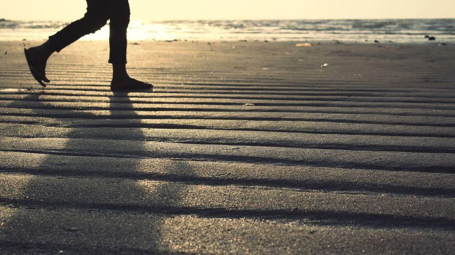 go for a stroll Sunset Fun Stroll Beaches Sand Pattern Sand Patterns Sand Sand Dunes Sandy Sandy Beach Low Section Beach Sea Shadow Women Athlete Human Leg Sunlight Sunset Water Focus On Shadow Long Shadow - Shadow Surfer Rushing Shore Wave Leg
