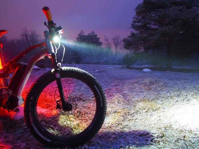 Beauty In Nature Bicycle Fatbike Headlight Illuminated Light Beam Lightpollution Nature Night No People Outdoors Sky Sunset Tree Wheel