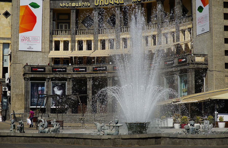 City Center Fountain Fountains Gathering Place Public Square Water Show Architecture Building Exterior Built Structure City Outdoor Architecture Outdoors People Water Water Fountain