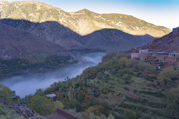 Mountain Tranquil Scene Mountain Range Tranquility Architecture Landscape High Angle View Building Exterior Outdoors Village Mountain Village Valley Mountain Valley Mist Mist In The Valley Misty Morning Cool Morning  Terrace No People Sky Land Morocco Dawn Dawn Light Scenics - Nature