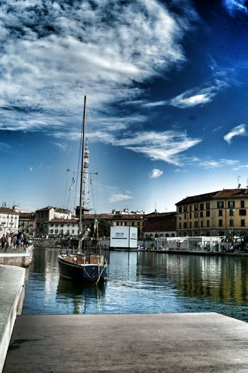 Architecture Boat Built Structure Cloud - Sky Darsena Milan Day Harbor Italy Milan Harbor Milanocity Mode Of Transport Nautical Vessel Navigli Naviglio Milano No People Outdoors Ships Sky Summertime Transportation Water Waterfront