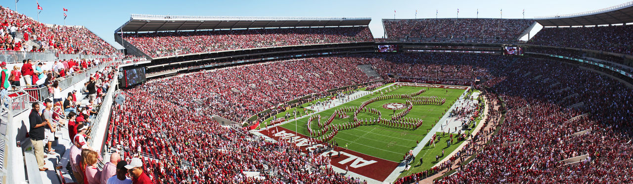 Million Dollar Band Performing Tusk at Pregame Alabama Crimson Tide Alabama Million Dollar Band Architecture Bama Bryant Denny Stadium Built Structure Elephant Outdoors Panaromic View Pregame The Color Of Sport