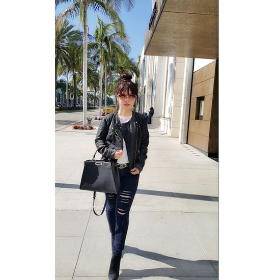 Today outfit: Dior sunglasses Fendy Peekaboo bag Chanel belt Stradivarius leather jacket Theposeofficial jeans Staccato_id shoes Rodeo Drive, 2015.03.27