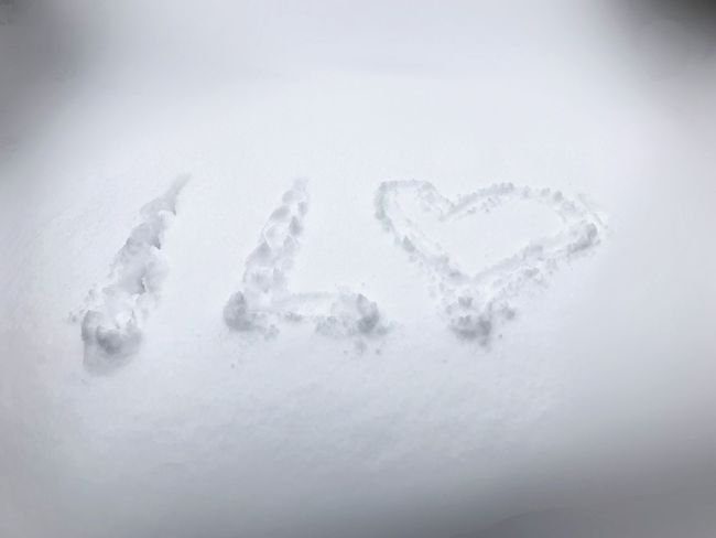 Heart Writing On Snow Snow Cold Temperature Winter White Color High Angle View Weather No People