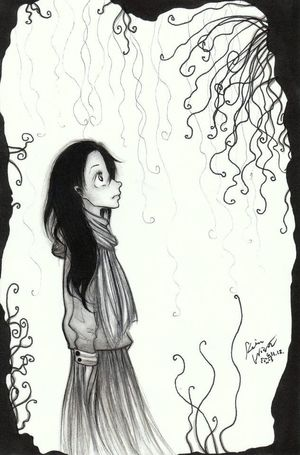 In thought Art Ink Cartoonish Drawing