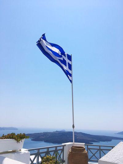 Santorini Greece Griechenland Holiday Blue Water Flag Sea Water Sun Sunshine Insel Blue Blue White Building Ocean Travel