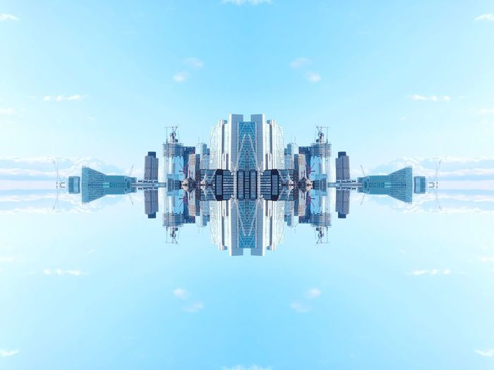 Inception. Sky Water Nature Built Structure Architecture Reflection Day No People Outdoors Cloud - Sky Building Exterior Blue City Symmetry Building Digital Composite