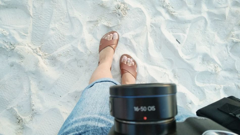 photography Camera Vacation Time Vacation Beach EyeEm Selects Low Section Human Leg Human Hand Sand Close-up Human Foot Legs Crossed At Ankle Human Toe Shoe Sandal Toenail Personal Perspective Foot Footwear Flip-flop Pair Canvas Shoe Feet