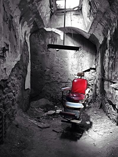 A dentist chair at the abandoned eastern state penetentiary in Philadelphia Colorsplash Jail Prison Haunted