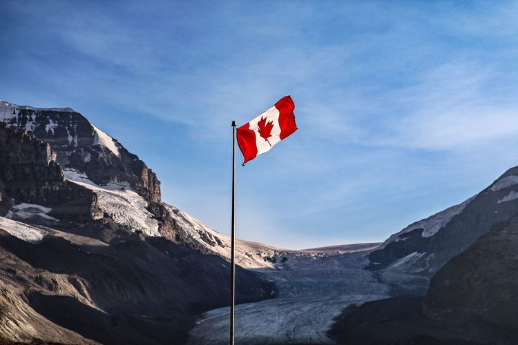 Athabasca Glacier Canada Columbia Icefield Flag Glacier Jasper National Park Mountain Mountain Range Nature No People Outdoors Snow Snowcapped Mountain Tranquility
