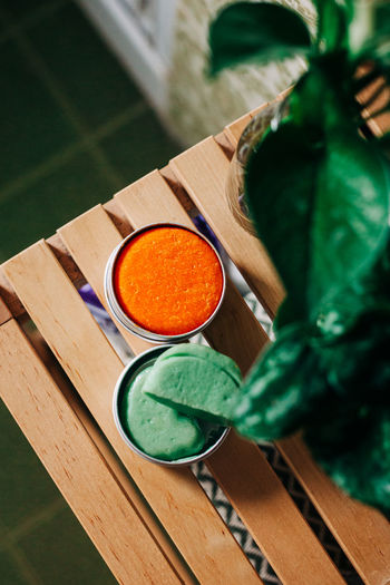 High angle view of orange juice on table