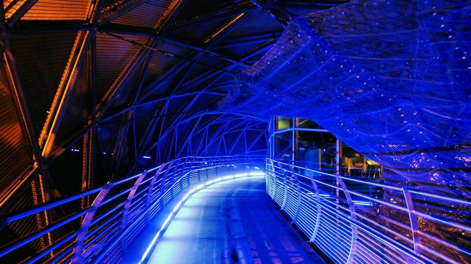 Blu bridge Night Illuminated Architecture Connection No People Cityscape Outdoors Technology Built Structure Blue City Bridge - Man Made Structure Graz Austria