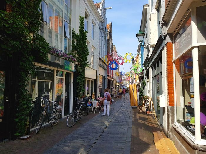 City Street Architecture Building Exterior City Street Outdoors Travel Destinations Multi Colored Summertime Beautiful Day City Life Cozy Place Cozy Shops Dutch Houses Taking Photos Eye4photography  Taking Pictures Dutchphotographer Architecture_collection Architectural Detail Dutch Cities Dutch House Streetphotography Street Photography