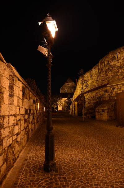 Architecture Budapest Castle Castle Historic Night Old Rock Wall Stone Wall Street Light The Way Forward Wall Tourism Hungary
