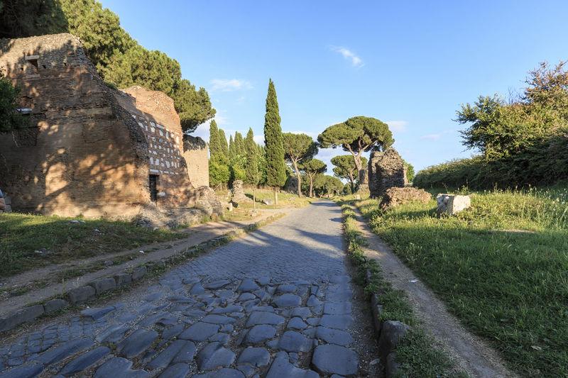 Ruins of the ancient Via Appia (Appian Way) in Rome Coliseum Quirinale Rome Viminale Europe Fori Romani Italy Trevi